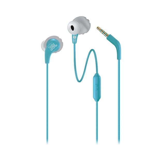 JBL Endurance RUN - Teal - Sweatproof Wired Sport In-Ear Headphones - Detailshot 1