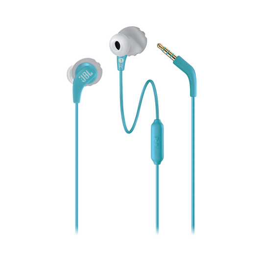 JBL Endurance RUN - Teal - Sweatproof Wired Sport In-Ear Headphones - Detailshot 1